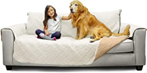 Mary Maxim Furniture Covers - Quilted Couch Slipcover and Furniture Protector for Dogs, Cats, Pets, Kids - Side Pockets, Elastic Strap & Water Resistant (70