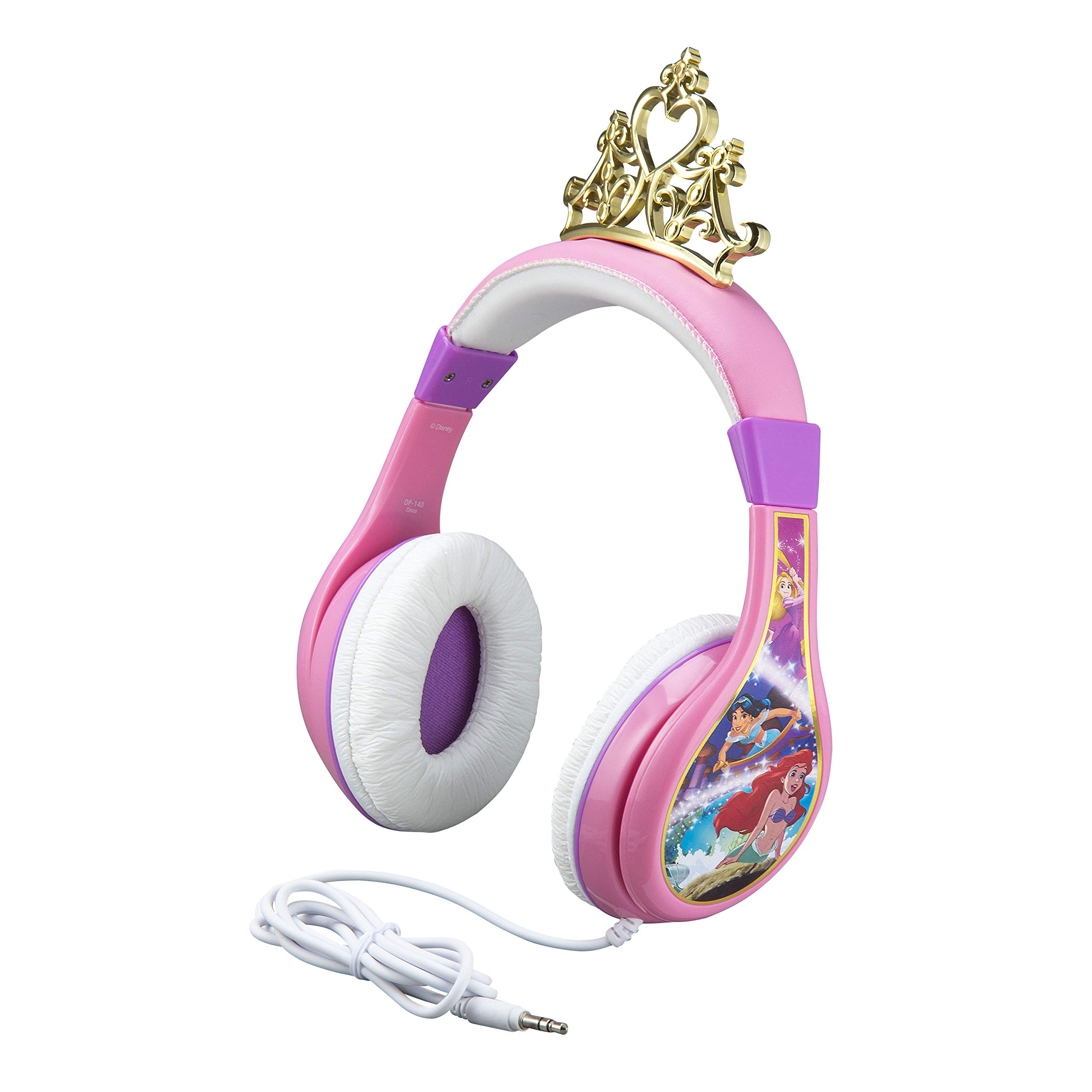 Disney Princess Kids Headphones For Kids Adjustable Stereo Tangle-Free 3.5Mm Jack Wired Cord Over Ear Headset For Children Parental Volume Control Kid Friendly Safe (Frustration Free Packaging)