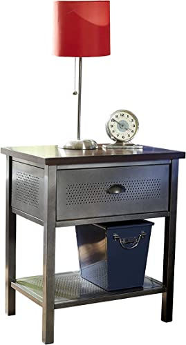 Hillsdale Furniture Urban Quarters, Nightstand, Black Steel and Antique Cherry Finished Metal