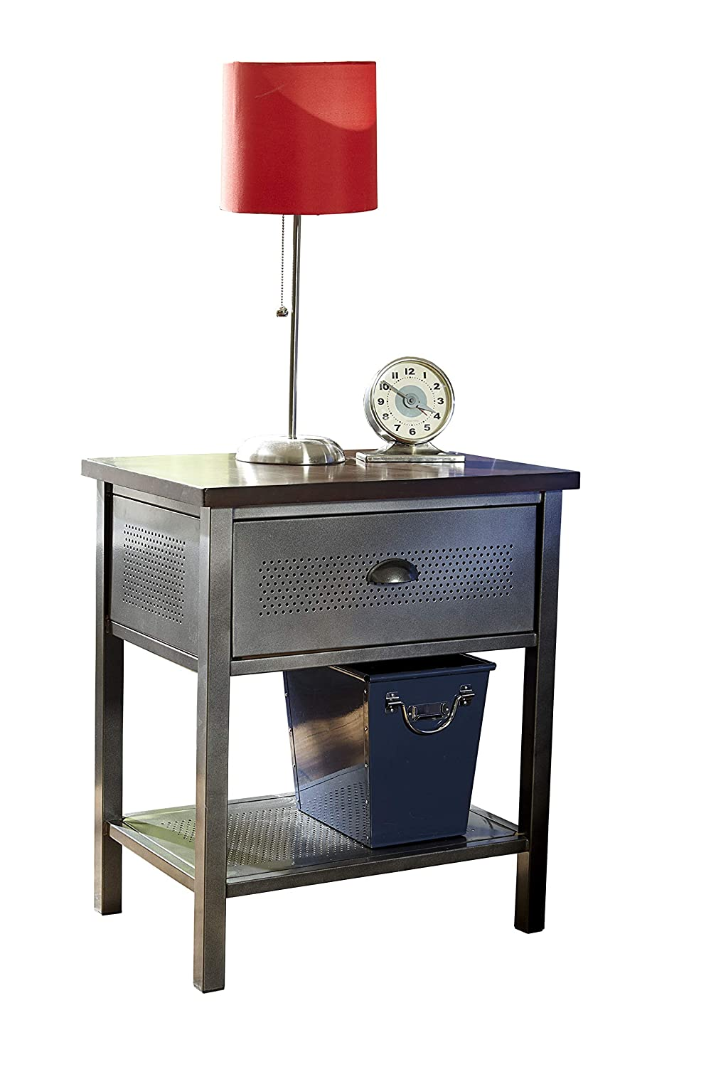 Hillsdale Furniture 1265-771R Urban Quarters, Nightstand, Black Steel and Antique Cherry Finished Metal