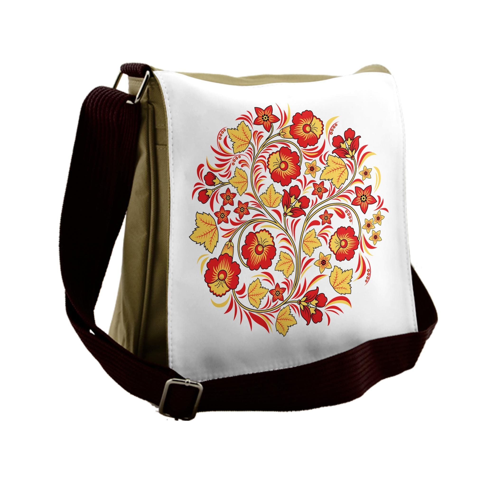 Lunarable Yellow And Red Messenger Bag, Wedding Flowers, Unisex Cross-body