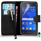 POUR Samsung Galaxy ACE 4 - SHUKAN® Prime Cuir NOIR Portefeuille Cas Coque Couverture avec Big Toucher Style Stylo VERT Cap Protecteur d'écran & Tissu de polissage