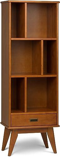 Simpli Home 3AXCDRP-12-TK Draper Solid Hardwood 64 inch x 22 inch Mid Century Modern Bookcase and Storage Unit