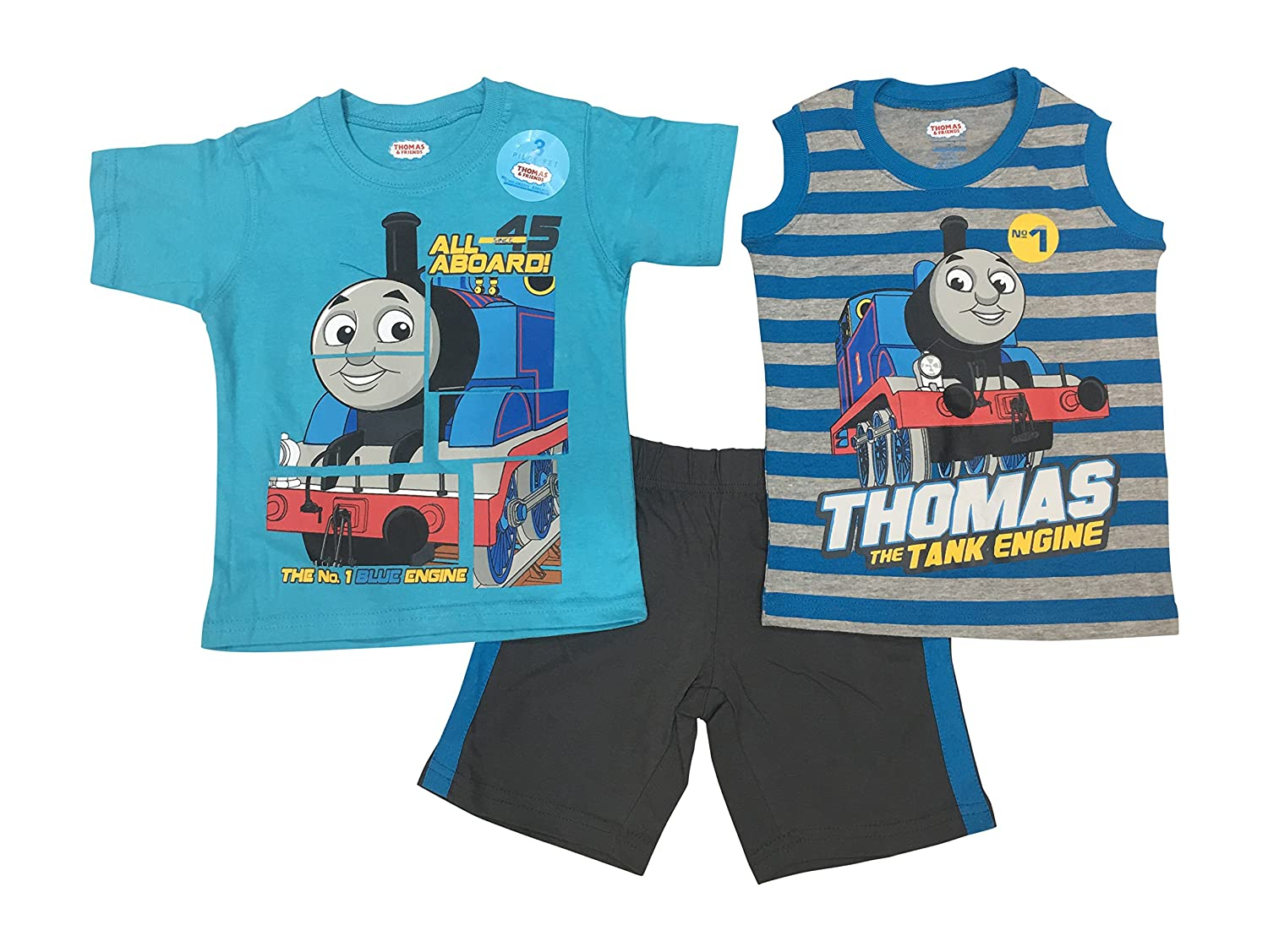 Thomas & Friends All Aboard and Railway Toddler Boys' 3 Piece Thomas Knit Jersey Short Set Sizes 2T-4T