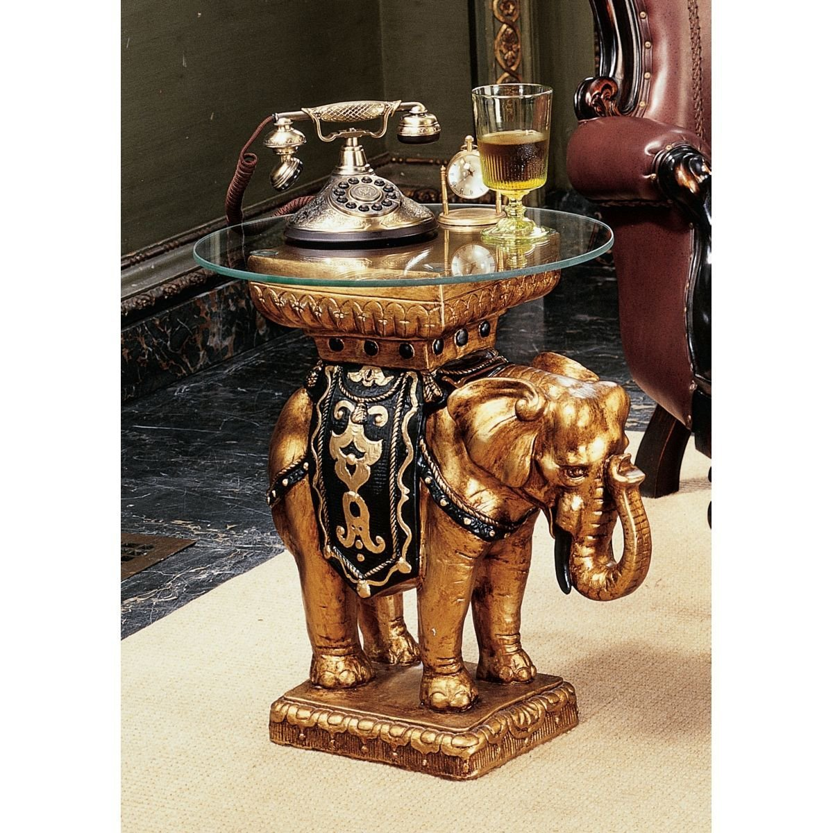 Awesome Amazon.com: Design Toscano Maharajah Elephant Glass Topped Sculptural  Table: Kitchen U0026 Dining