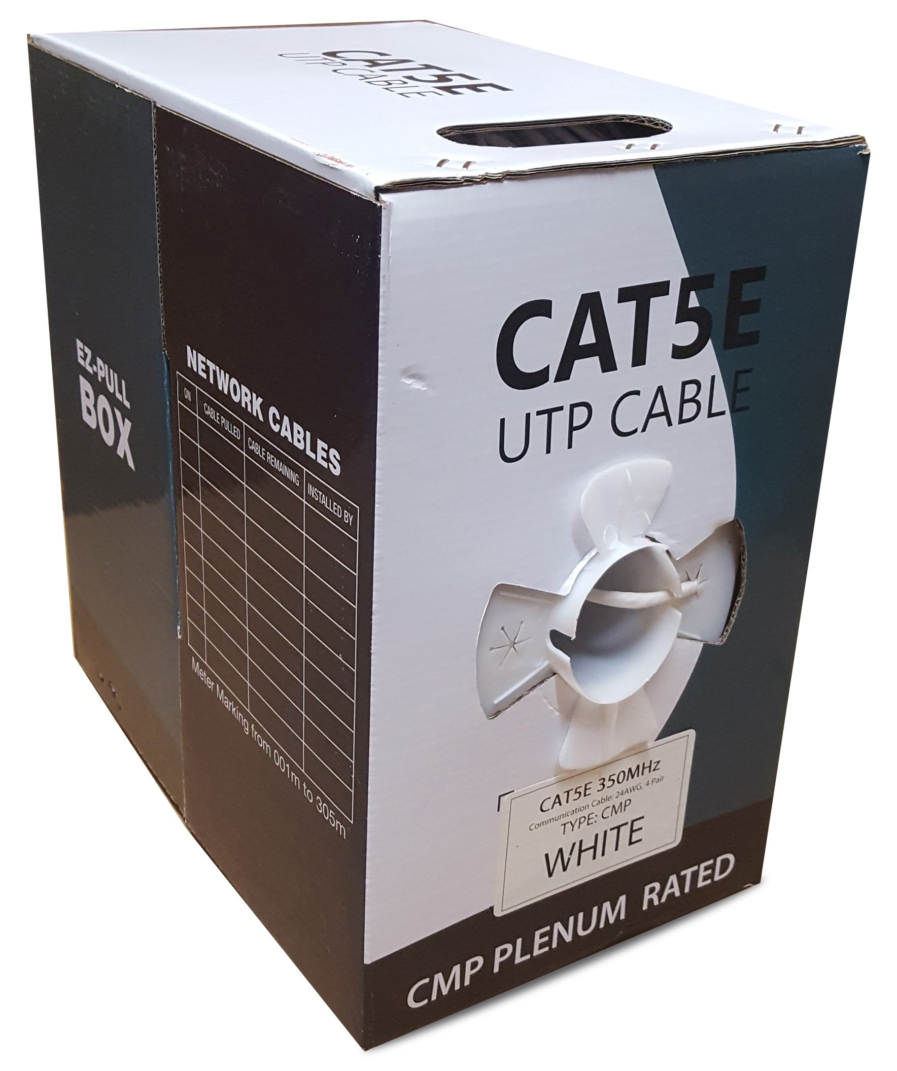 CAT5E Plenum 1000FT Solid 24AWG 350MHZ UTP Bulk White CMP Network LAN Cable by Efficient Cables