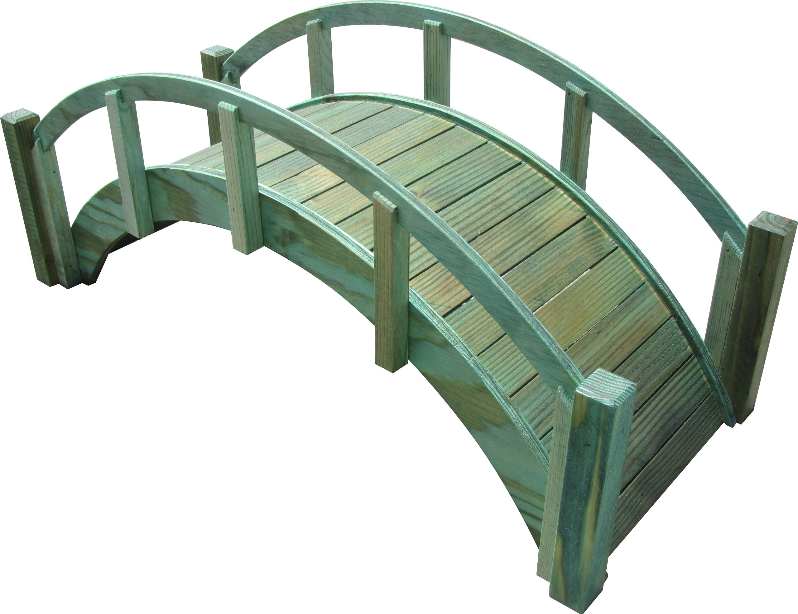 SamsGazebos Miniature Japanese Treated Wood Garden Bridge, 29-Inch, Green