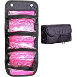 Makeup Bag Cosmetic Hanging Organizer Roll N Go Roll Up Foldable Clear Case Pouch Toiletry (Black)
