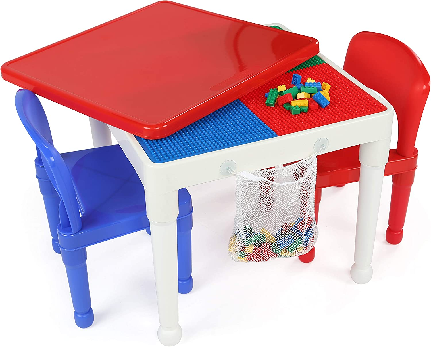 Tot Tutors Kids 2-in-1 Plastic Building Blocks-Compatible Activity Table and 2 Chairs Set, Square, Primary Colors
