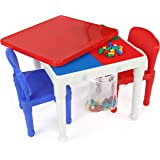Humble Crew, White/Blue/Red Kids 2-in-1 Plastic Building Blocks-Compatible Activity Table, 20X20X17 H