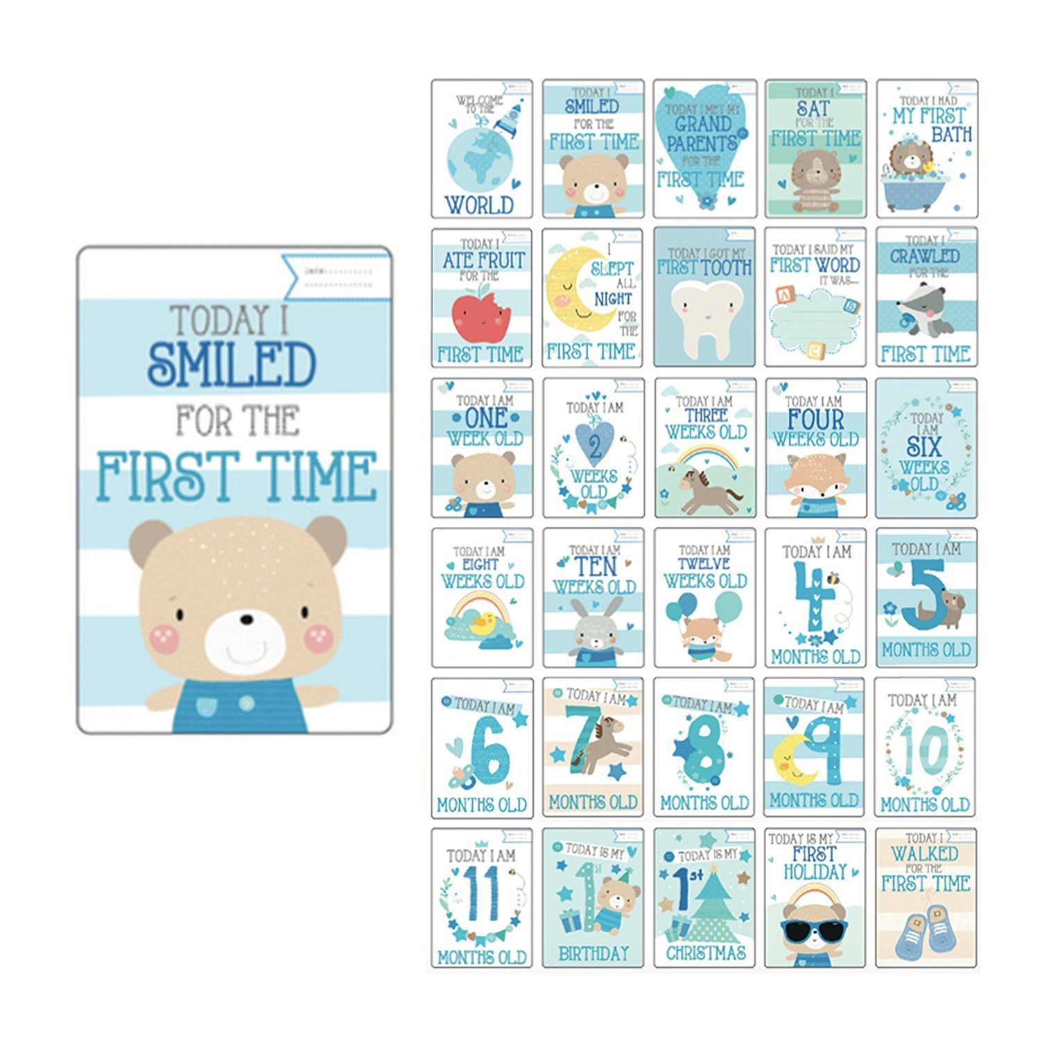 milestone cards 30x Baby boy memorable moments cards gift baby shower