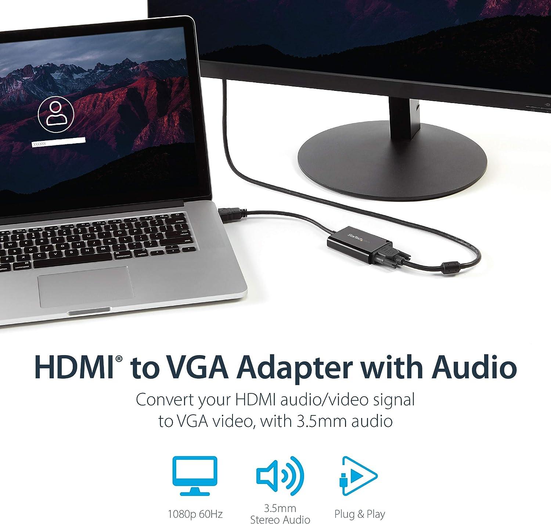 StarTech.com C/âble adaptateur HDMI vers VGA avec audio Convertisseur vid/éo HDMI vers HD15 M/âle // Femelle 1920x1080 Noir