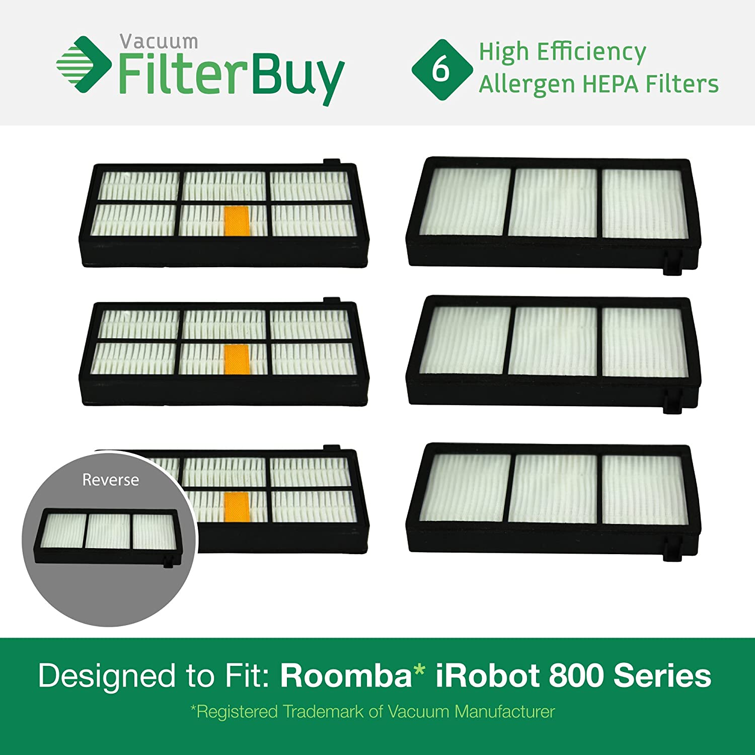 6 - iRobot Roomba 800 900 Series AeroForce Replacement Filters. Designed by FilterBuy to replace all iRobot Roomba 800 & 900 Series Vacuum Filters
