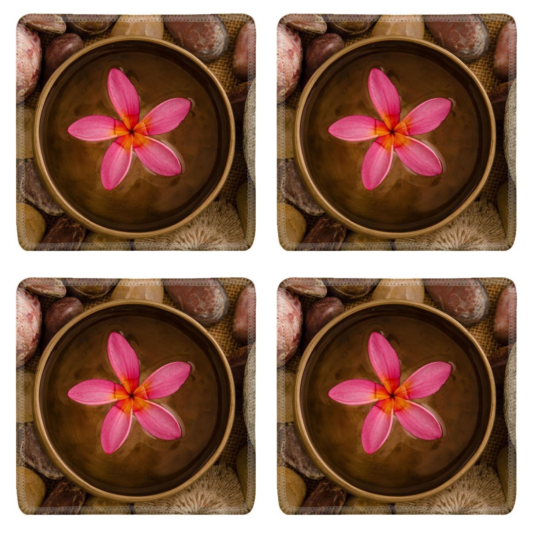 MSD Square Coasters Non-Slip Natural Rubber Desk Coasters design 20619993 frangipani spa concept photo lowlight ambient spa shallow dof by MSD (Image #1)