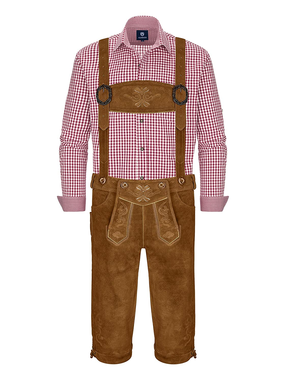 Lederhosen Set mit Hosent/äger /& rotem Hemd Oktoberfest Volksfest Fasching Karneval Almbock Trachtenset Herren 3 teilig