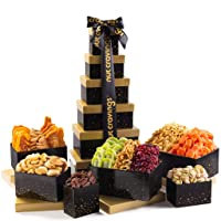 Gourmet Tower Gift Basket Nut & Dry Fruit Tray (12 Mix) - Variety Care Package, Birthday Party Food, Holiday Arrangement Platter - Healthy Snack Box for Families, Women, Men, Adults