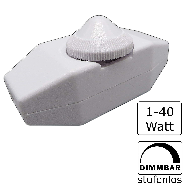 1-40 W /à intensit/é variable en continu pour ampoule LED /à intensit/é variable 230.00V variateur de c/âble Interrupteur /à variateur dintensit/é 1.00W Variateur LED