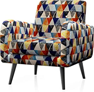 JustRoomy Upholstered Mid Century Accent Chair Modern Tufted Fabric Arm Chair Deep Seating Removable Seat Cushion Comfortable Bedroom Living Room Reading Armchair with Black Leg, Colorful Rhombus