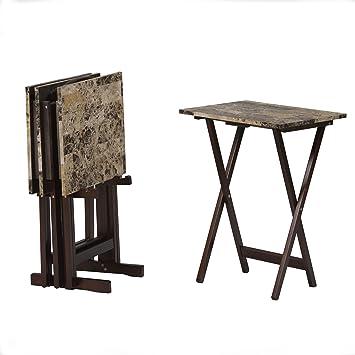 Amazon.com: Linon Home Decor Tray Table Set, Faux Marble, Brown ...