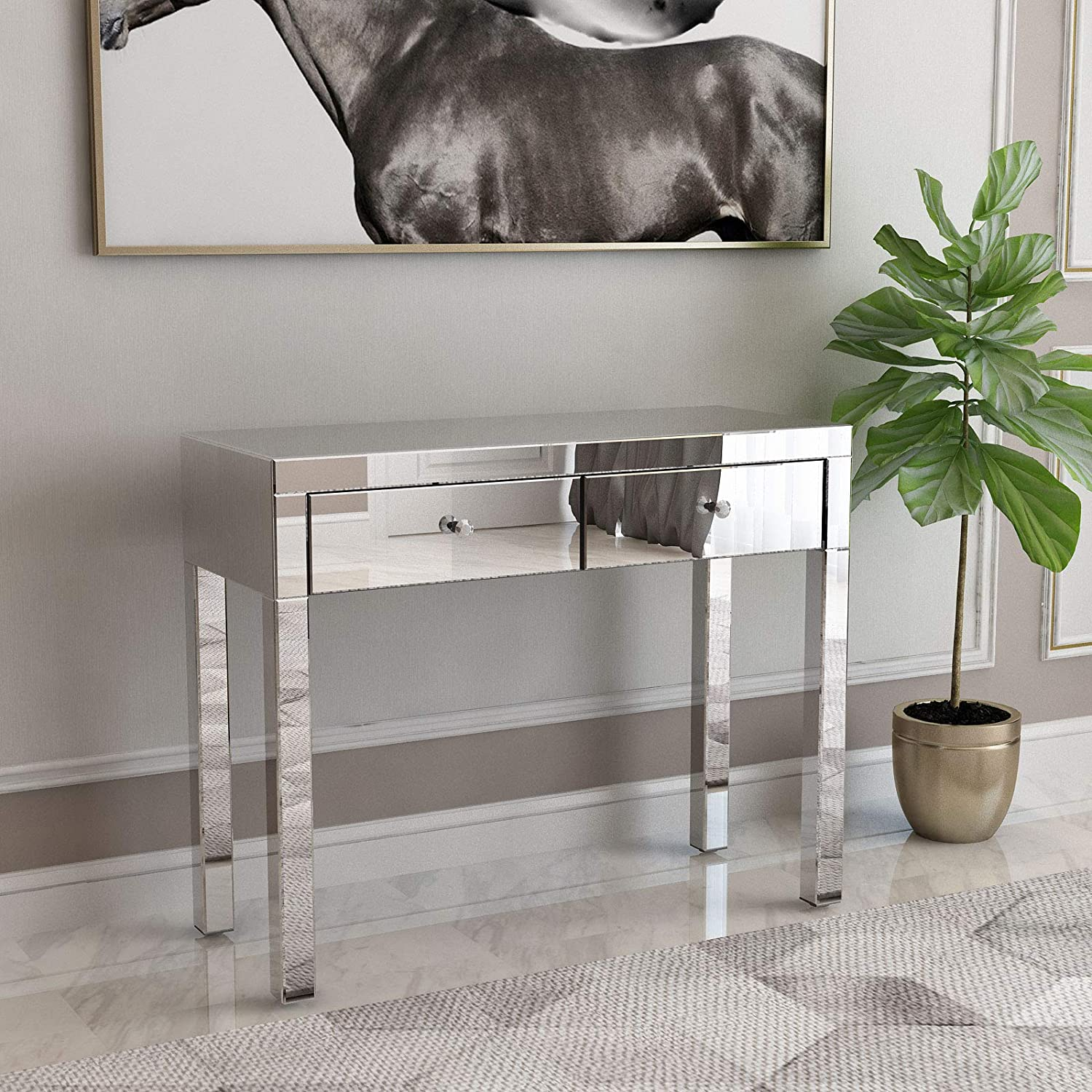 Mecor Mirrored Console Table Occasional Sofa Side Table With 2 Drawers Silver Entry Table Vanity Makeup Dressing Table For Entryway Hallway Living Room Kitchen Dining