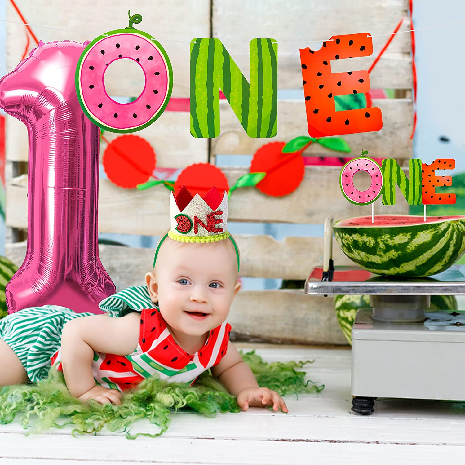 MALLMALL6 4Pcs Watermelon ONE First Birthday Party Decor in a Melon Summer Glitter Paper Banner Cake Topper Crown Rose Red Foil Balloon Kit Decorations Supplies Fruit Theme Photo Props for Baby Shower