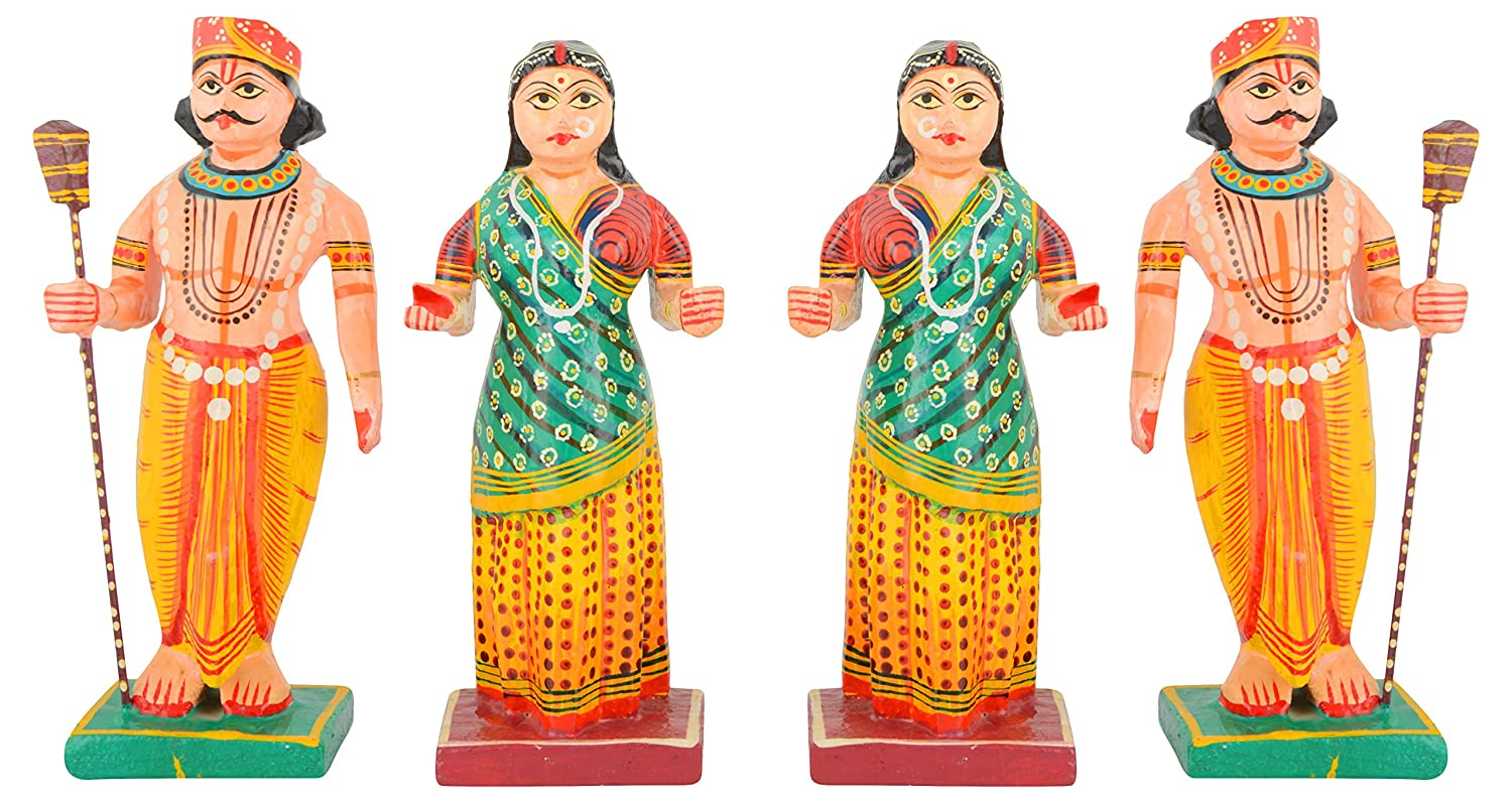 Buy ambika wooden village couple figurine 7 cm x 5 cm x 20 cm pack of 4 online at low prices in india amazon in