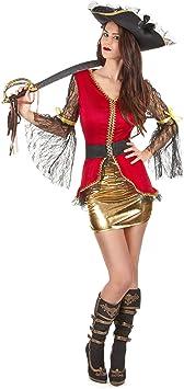 Generique - Disfraz Pirata Mujer Rojo y Dorado M: Amazon.es ...