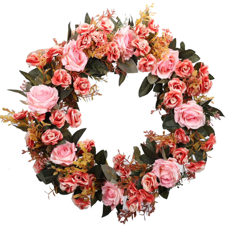 silk flower arrangements duovlo rose floral twig wreath 19 inch handmade artificial flowers garland front door wreath (pink)