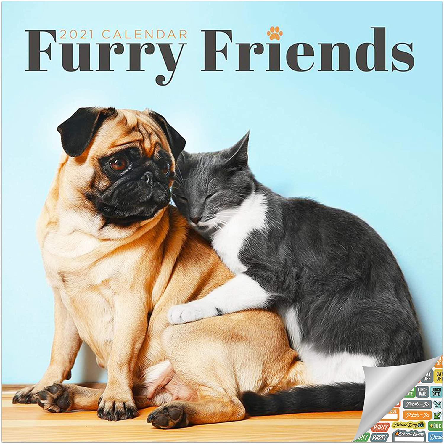 Furry Friends Calendar 2021 Bundle - Deluxe 2021 Dog and Cat Friends Wall Calendar with Over 100 Calendar Stickers