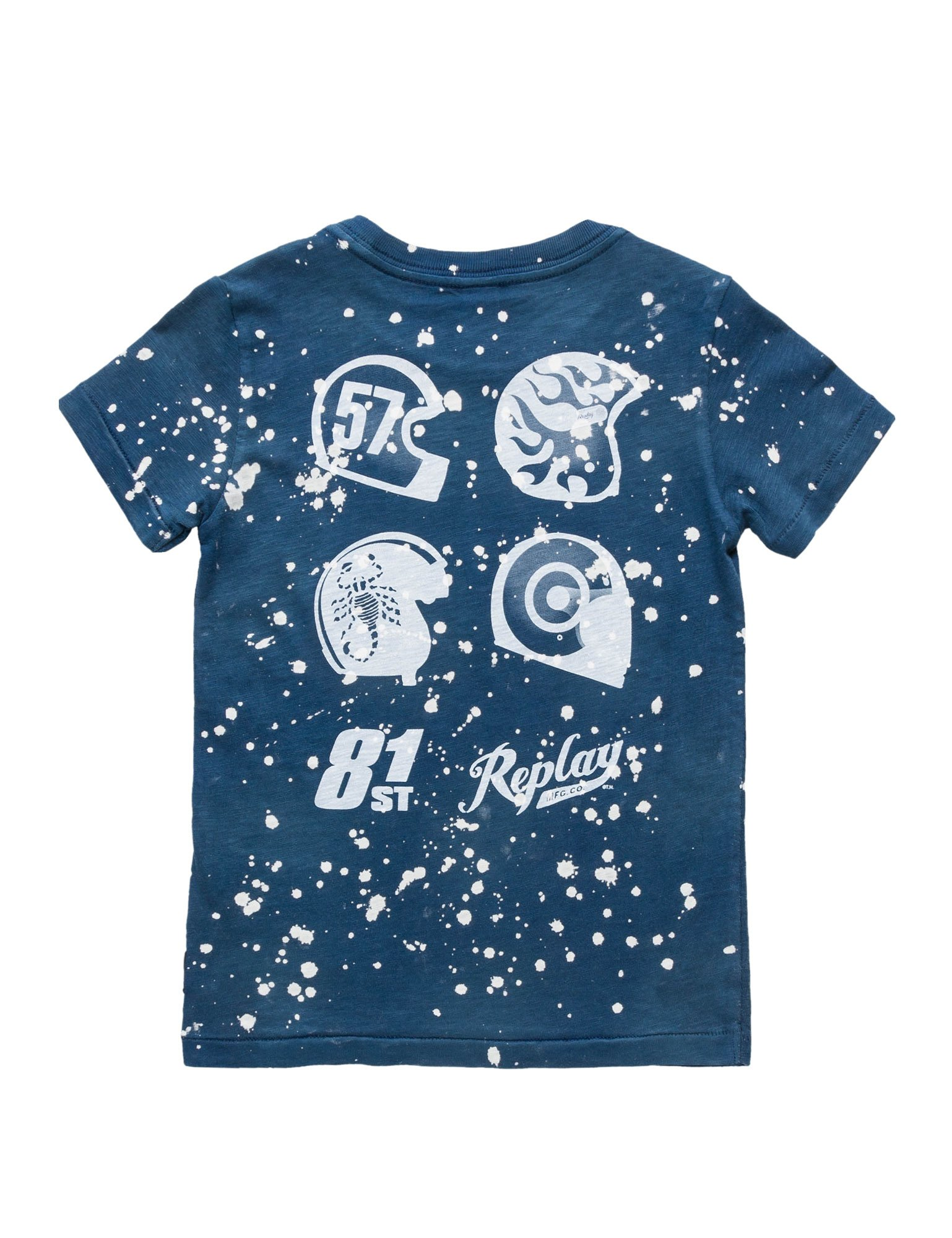 Replay Garment Dyed Slub Jersey Boy's Blue T-Shirt In Size 12 Years Blue by Replay (Image #2)