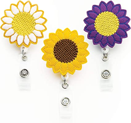Flower Badge Reel - 3 Pack - Sunflower Badge Holder - Nurse Gifts: Amazon.es: Oficina y papelería