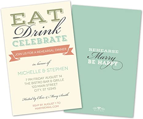 Amazon.com: Eat, Drink, Celebrate Rehearsal Dinner Invitations ...