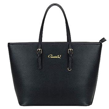 ccfe77729f5bc BestoU Damen Handtasche Shopper Schwarz Groß Tasche Leder Moderne Damen  Handtaschen Gross Henkeltaschen Frauen Umhängetasche für