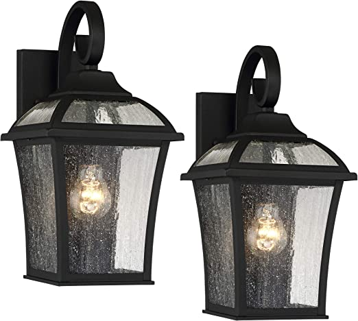 Mosconi Traditional Outdoor Wall Carriage Light Fixtures Set Of 2 Textured Black Lantern 15 Clear Seedy Glass For Exterior House Porch Patio Outside Deck Garage Front Door Home John Timberland Amazon Com
