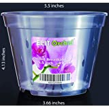 Orchid Pots with Holes Indoor Clear Plastic Plant Pot Set 4 Pack (5.5 inch)