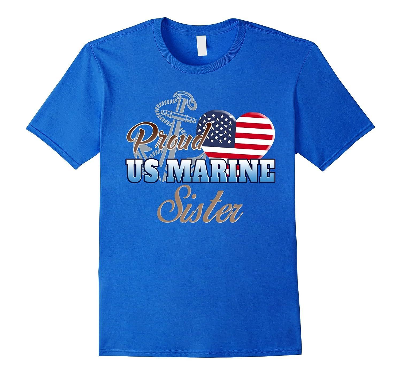 Proud Us Marine Sister Shirt Marine Sister Patriotic Heart Cd