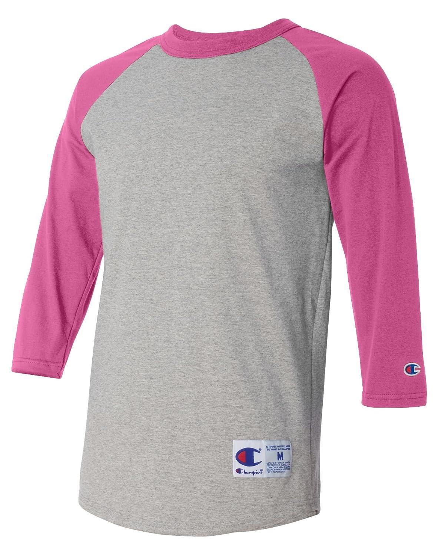 5.2オンスチャンピオンラグランTシャツ B01N9NXY79 L Oxf Gry Ht Pink Oxf Gry Ht Pink L