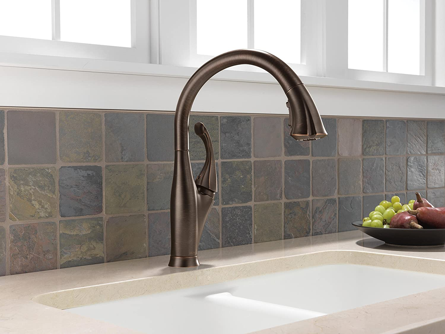 Delta 9192 RB DST Addison Single Handle Pull Down Kitchen Faucet, Venetian  Bronze   Touch On Kitchen Sink Faucets   Amazon.com
