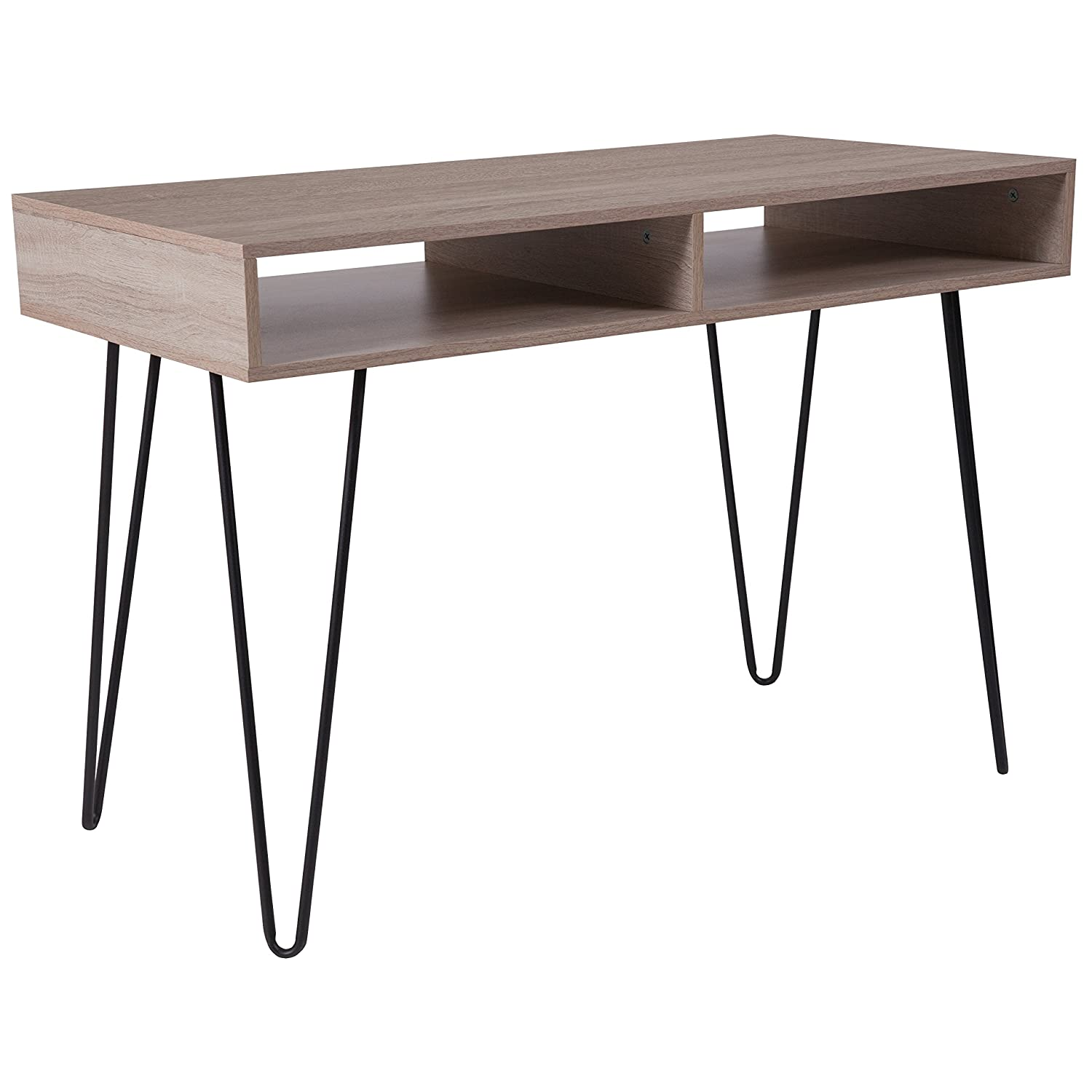 Flash Furniture Franklin Oak Wood Grain Finish Computer Table with Black Metal Legs