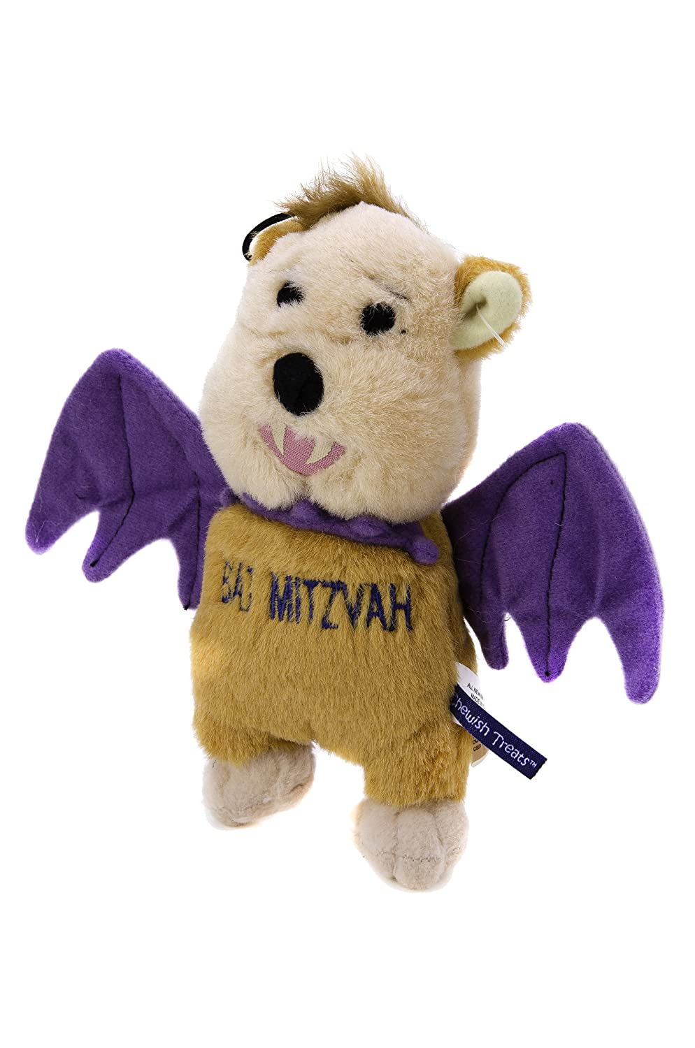 Copa Judaica Chewish Treat Bat Mitzvah Bat Squeaker Plush Dog Toy, 8 by 7-Inch, Multicolor