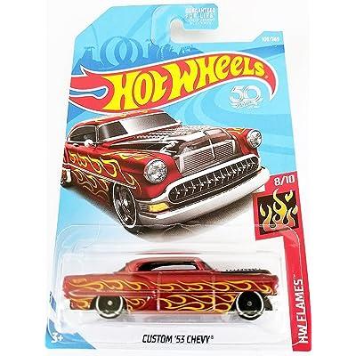 Hot Wheels 2020 50th Anniversary HW Flames Custom '53 Chevy 109/365, Maroon: Toys & Games