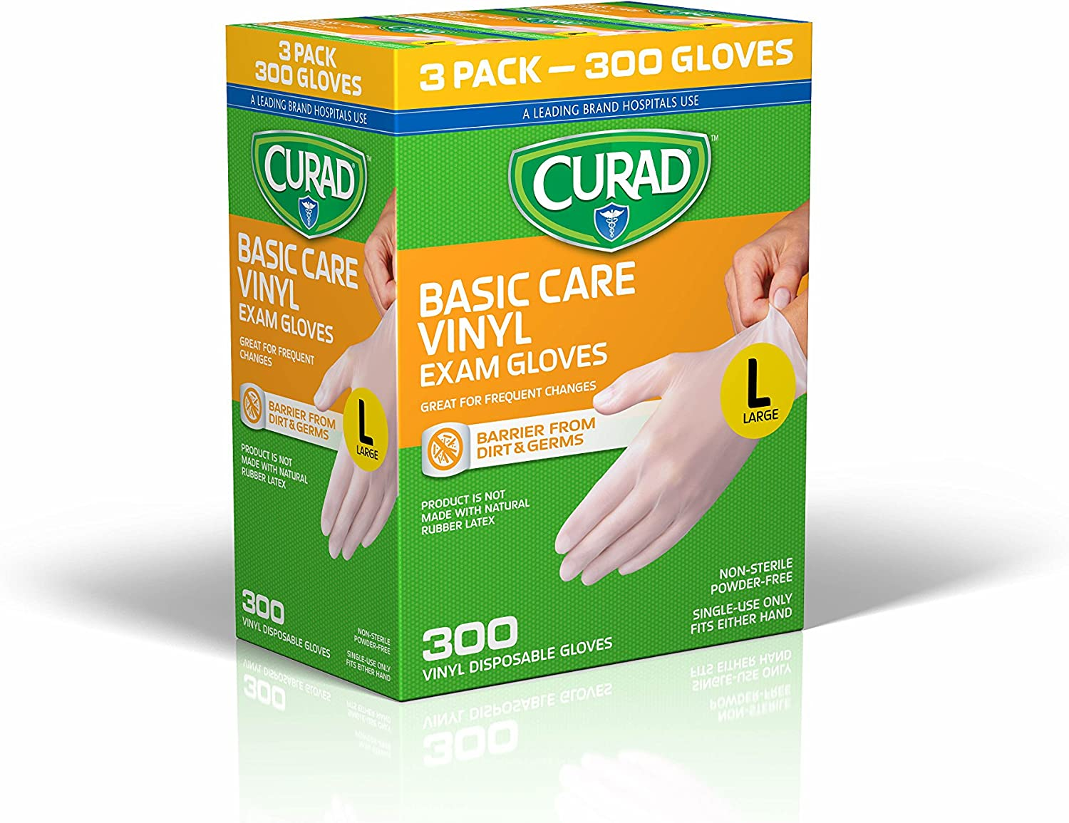CURAD Basic Care Vinyl Disposable Exam Gloves, Large (Pack of 300) 81AikiCwnRL