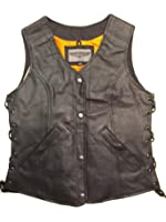 Women's Naked Leather Motorcycle Vest With Gun Pockets Solid Back