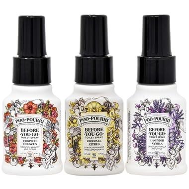 Poo Pourri Original Citrus, Lavender Vanilla, and Tropical Hibiscus 1.4 Ounce Set, Bottle Tag Included