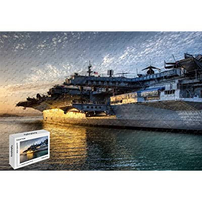 1000 Piece Jigsaw Puzzle - USS Midway Wooden in a Box Famous Paintings Mural Decoration 29.5 X 19.6 Inch: Toys & Games