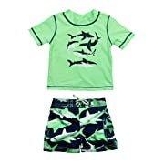 Carter's Baby Boys' Infant Shark Rash Guard Swim Set, Green, 6-9 Months