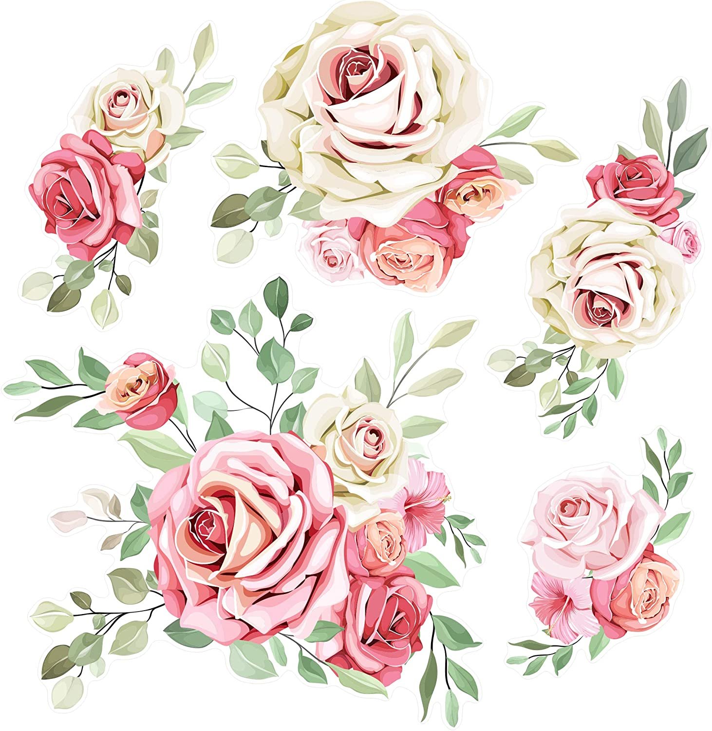 SylkyClover Flower Wall Decals - Peel and Stick Decals (28.5 x 16.5 in), Floral Wall Decals, Flower Decals for Wall, Rose Stickers Decals, Flower Wall Stickers, Floral Wall Decor Nursery (Pink)