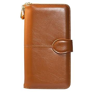 Mujer Carteras - marrón Cuero Bolsa con cierre ManChDa Talla grande Billetera de cuero para mujeres