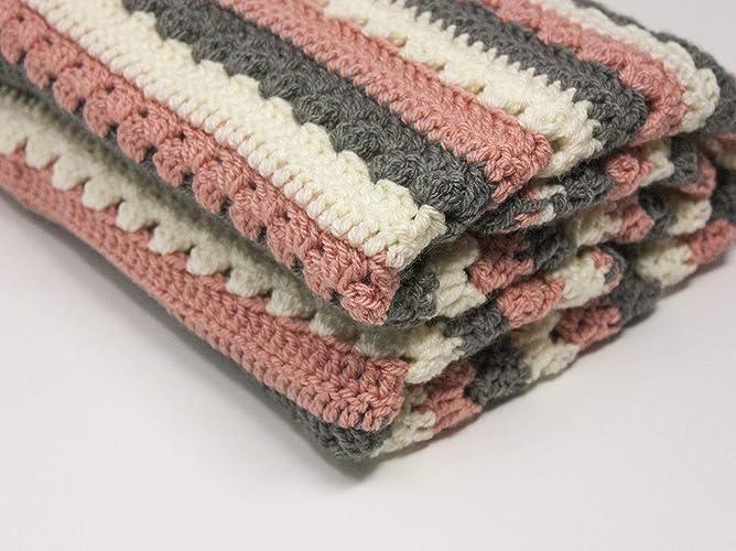 Pink baby blanket, Crocheted Baby Girl Blanket Cosy Stripes