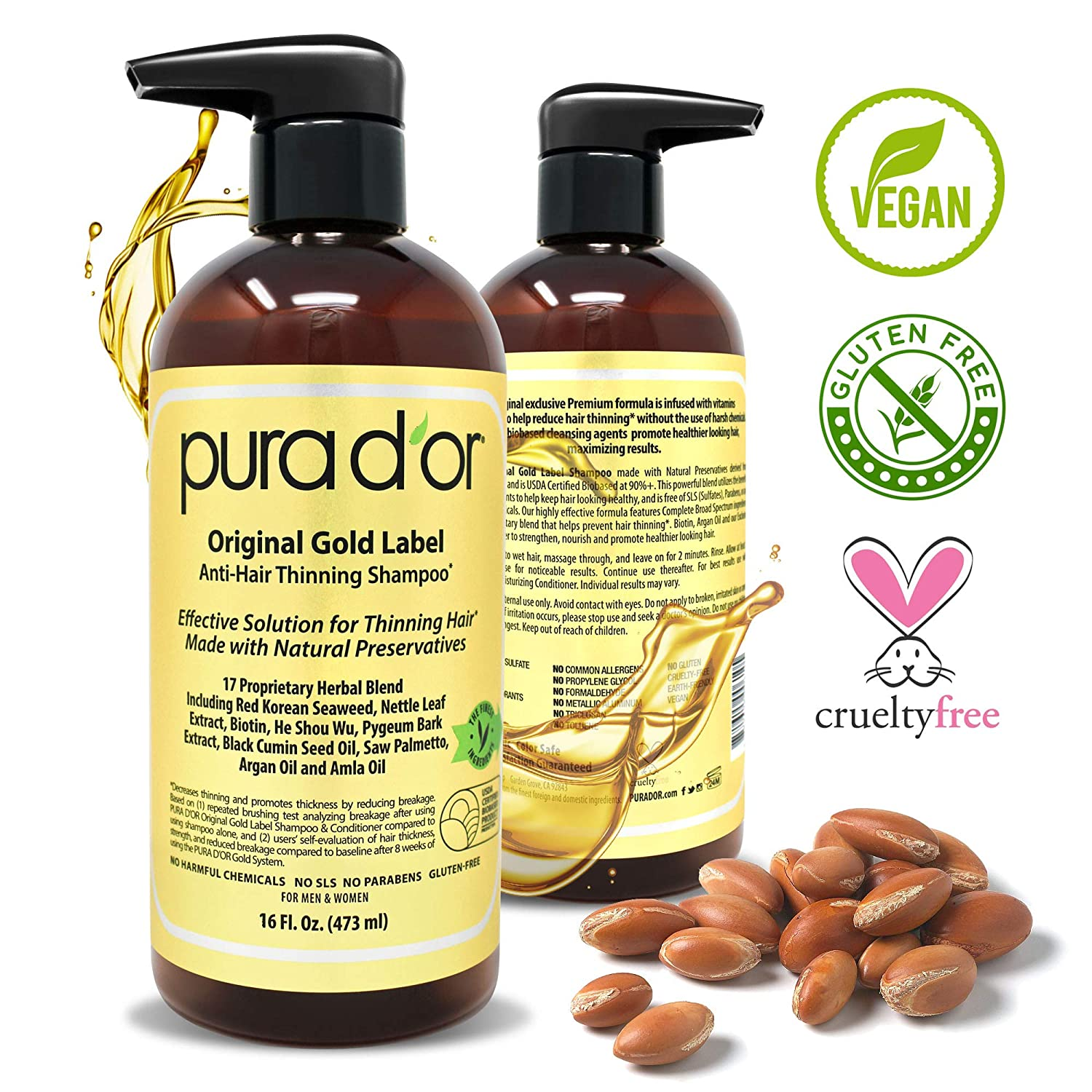 PURA D'OR Original Gold Label Anti-Thinning Shampoo Clinically Tested, Infused with Argan Oil, Biotin & Natural Ingredients, Sulfate Free, All Hair